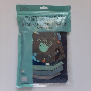 Kids Reusable Face Mask Set with Storage Case